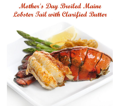 broiled maine lobster tail with clarified butter